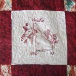 idaho state flower state bird Redwork quilt block